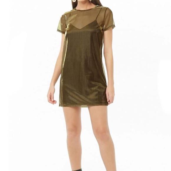 1a6a6ebc0764 Forever 21 Dresses | Green Mesh Tshirt Dress | Poshmark
